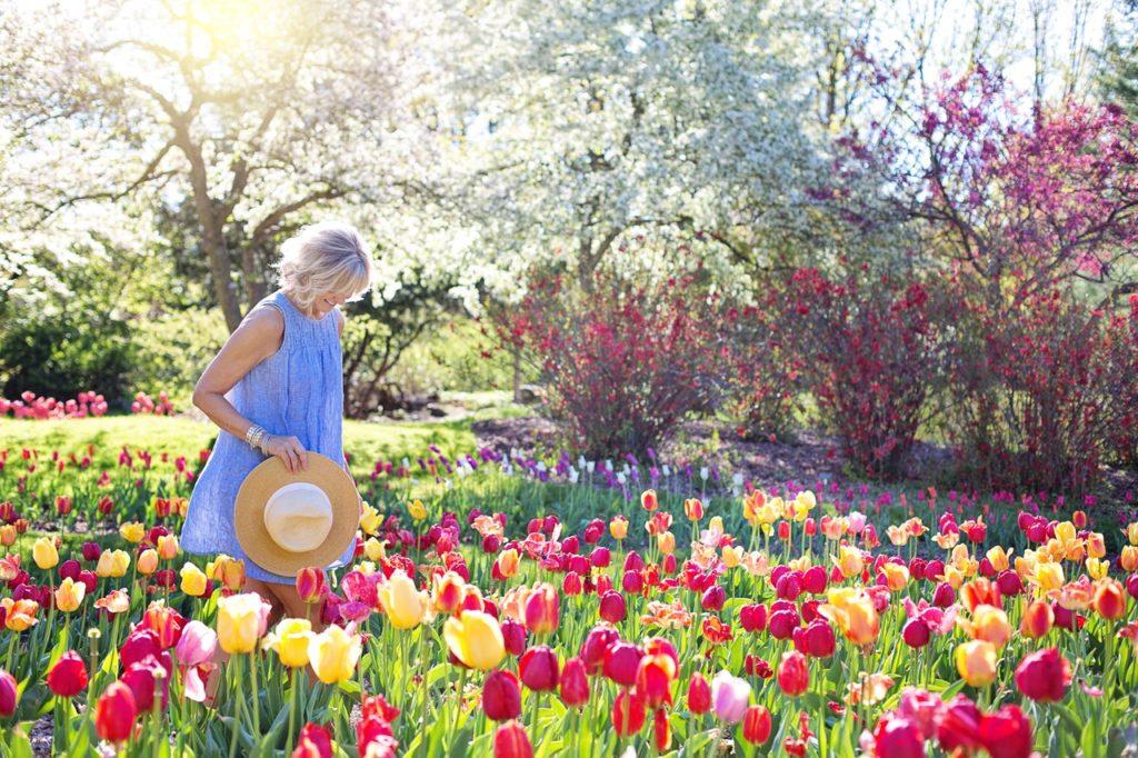 at a flower garden